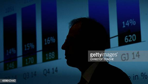Reinhard Ploss CEO of German semiconductors giant Infineon speaks during a press conference to present their yearly results in Munich southern...