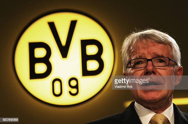 Reinhard Rauball president of Borussia Dortmund adresses the audience during the Borussia Dortmund annual meeting at the Westfallenhalle on November...