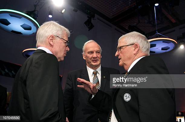 Reinhard Rauball, president of Deutsche Fussball Liga , DFB vice president Hans-Georg Moldenhauer and Theo Zwanziger, president of the German...