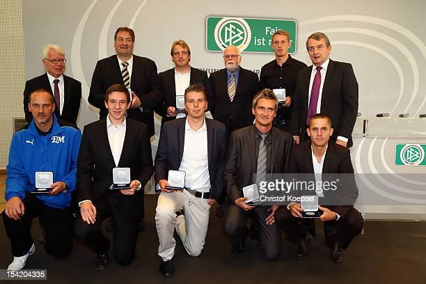 Reinhard Rauball, president of Deutsche Fussball Liga DFL , stadium speaker Klaus Hafner of Mainz 05, head coach Mike Bueskens of Fuerth, Gunter...