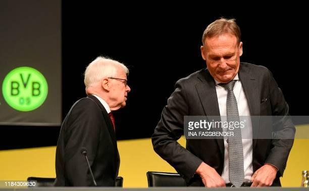Reinhard Rauball , President of German first division Bundesliga football club Borussia Dortmund, and Hans-Joachim Watzke, manager of German first...