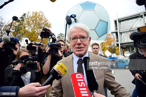 Reinhard Rauball, president of the German Football League arrives for the extraordinary DFB presidium meeting at DFB Heatquaters on November 9, 2015...