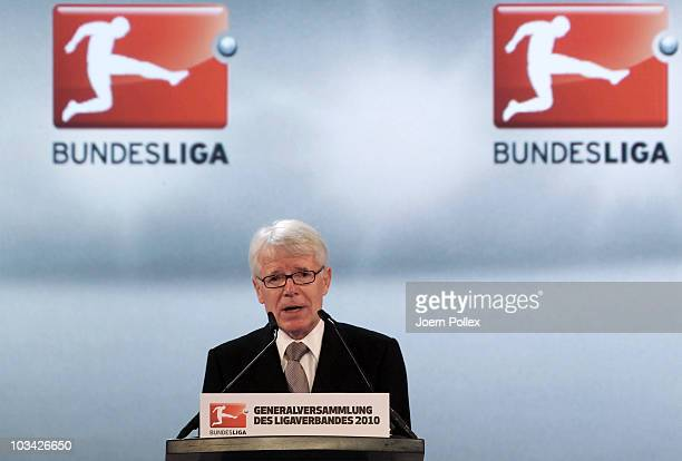 Reinhard Rauball, president of the German Football League speaks during the DFL general annual meeting at the InterContinental hotel on August 18,...