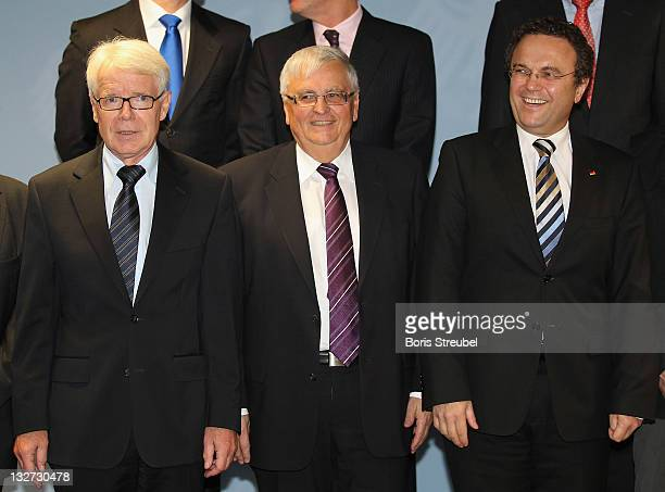 Reinhard Rauball , president of the German Football League , Theo Zwanziger , president of the German Football Association and German Interior...