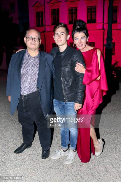 Reinhard Soell with his son Ludwig Soell and his partner Swetlana Panfilow during the Brian Ferry concert at the Thurn Taxis Castle Festival 2018 on...
