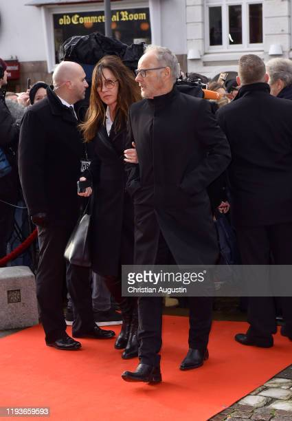 Reinhold Beckmann and Kerstin Beckmann during the memorial service for Jan Fedder at Hamburger Michel on January 14 2020 in Hamburg Germany German...
