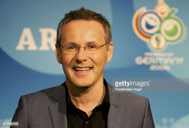 Reinhold Beckmann commentator of ARD poses for the media before a press conference with German TV channels ARD and ZDF at the Hotel Le Royal Meridien...