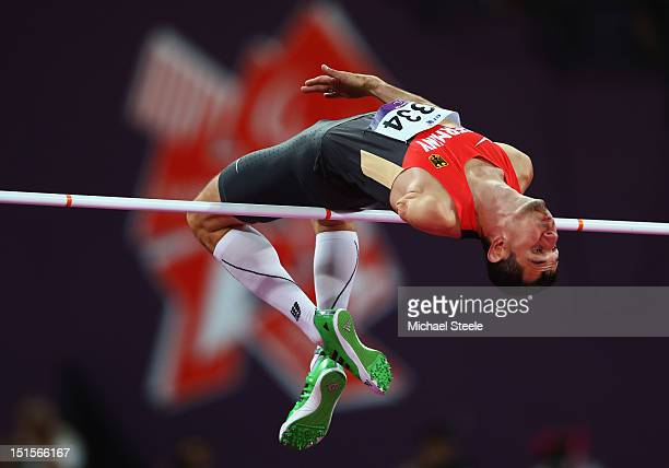 Reinhold Boetzel of Germany competes in the Men's High Jump F46 Final on day 10 of the London 2012 Paralympic Games at Olympic Stadium on September 8...