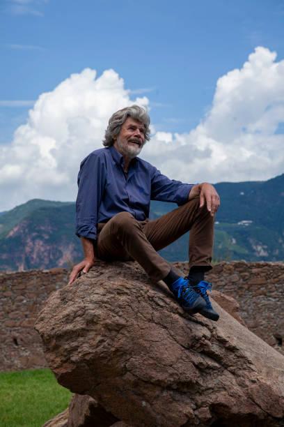 "ITA: Reinhold Messner Visits ""Der verzauberte Berg"" Exhibition At Messner Mountain Museum"