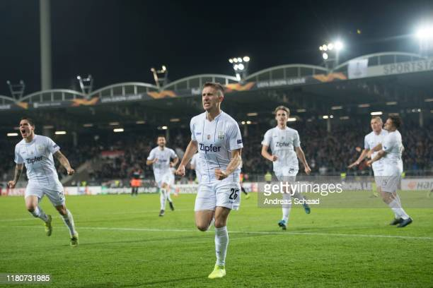 Reinhold Ranftl of Linzer ASK celebrates after scoring on the goal for 1:1 during the UEFA Europa League group D match between LASK and PSV Eindhoven...