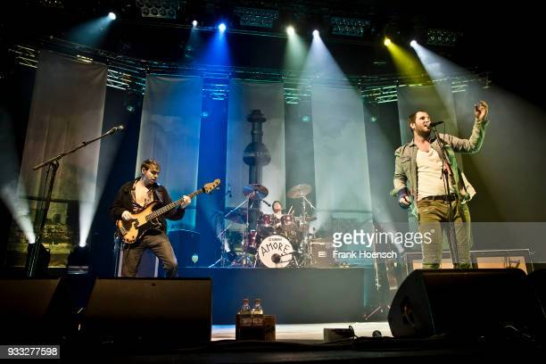 Reinhold Weber Lukas Hasitschka and Marco Michael Wanda of the Austrian band Wanda perform live on stage during a concert at the MaxSchmelingHalle on...