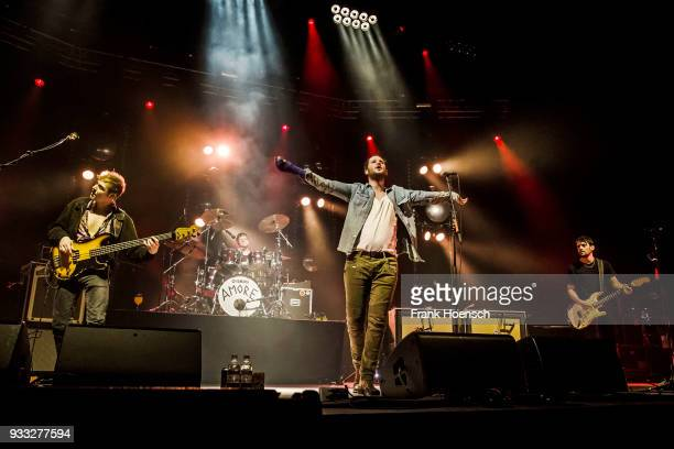 Reinhold Weber Lukas Hasitschka Marco Michael Wanda and Manuel Christoph Poppe of the Austrian band Wanda perform live on stage during a concert at...