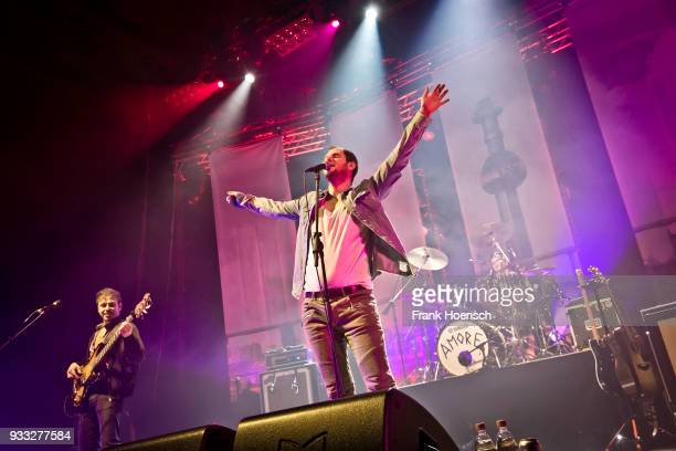 Reinhold Weber Marco Michael Wanda and Lukas Hasitschka of the Austrian band Wanda perform live on stage during a concert at the MaxSchmelingHalle on...