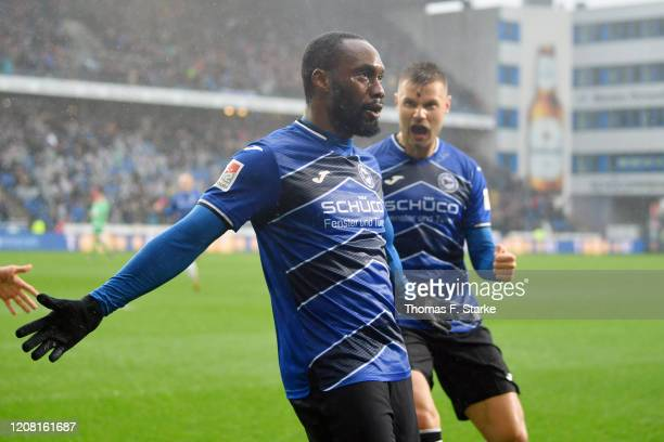 Reinhold Yabo and Florian Hartherz of Bielefeld celebrate during the Second Bundesliga match between DSC Arminia Bielefeld and Hannover 96 at Schueco...