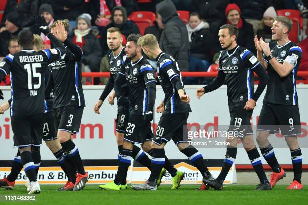 Reinhold Yabo Brian Behrendt Florian Hartherz Jonathan Clauss Nils Seufert Manuel Prietl and Fabian Klos of Bielefeld celebrate during the Second...