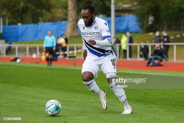 Reinhold Yabo of DSC Arminia Bielefeld controls the ball during the test match between VfL Bochum and Arminia Bielefeld at Vonovia Ruhrstadion on...