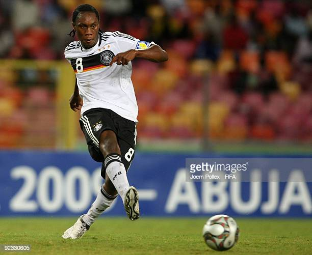 Reinhold Yabo of Germany plays the ball during the FIFA U17 World Cup Group A match between Nigeria and Germany at the Abuja National Stadium on...