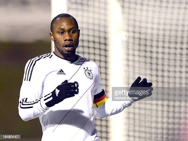 Reinhold Yabo of Germany reacts during the international friendly match between U20 Switzerland and U20 Germany at Eps Stadium on March 26 2013 in...