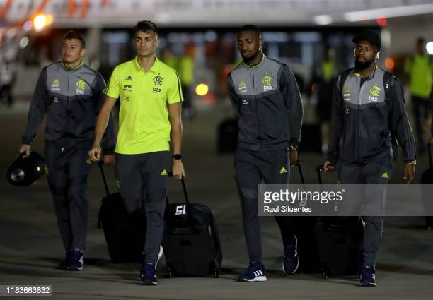 Reinier and Gerson of Flamengo arrive to Grupo Aereo 8 Terminal on November 20 2019 in Lima Peru River Plate and Flamengo will play the final match...