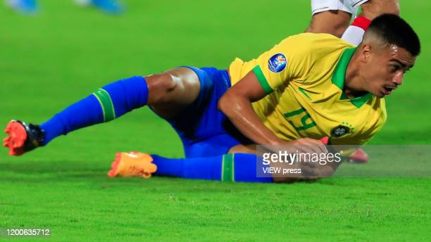 Reinier falls down during his CONMEBOL PreOlympic soccer game against Peru at Centenario Stadium on January 19 2020 in Armenia Colombia