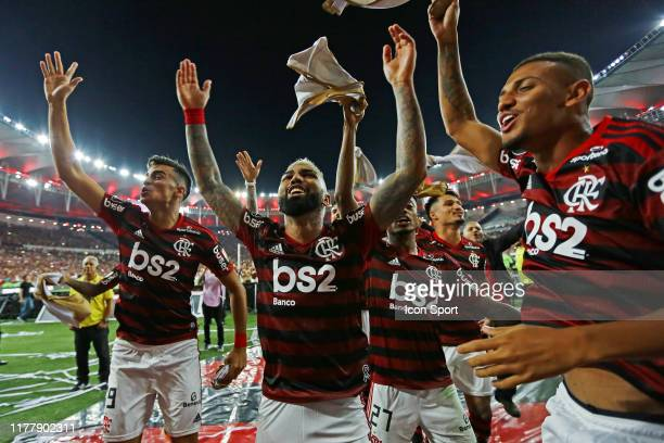 Reinier Gabriel of Flamengo celebrates victory and classification for final after match during the Copa Libertadores Semi Finals match between...
