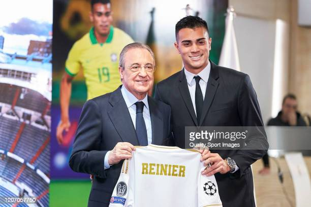 Reinier Jesus and Florentino Perez President of Real Madrid as Real Madrid unveil new signing Reinier Jesus Carvalho at Estadio Santiago Bernabeu on...