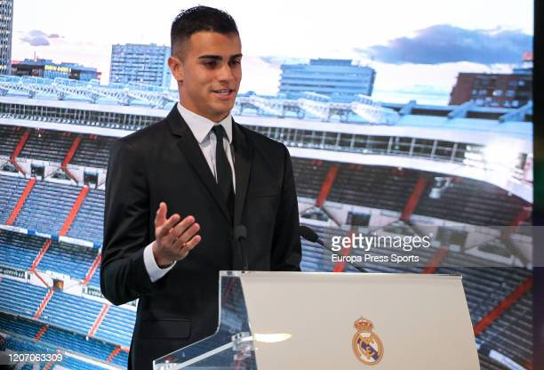 Reinier Jesus Carvalho attends durign his presentation as a new player of Real Madrid CF at Santiago Bernabeu stadium on February 19 2020 in Madrid...