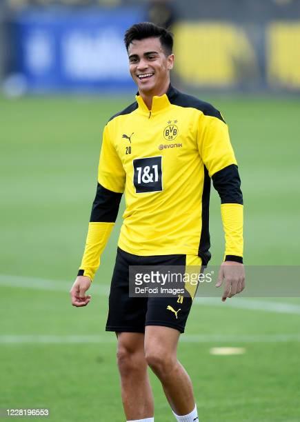 Reinier Jesus Carvalho of Borussia Dortmund laughs during the Borussia Dortmund Training Session on August 25, 2020 in Dortmund, Germany.