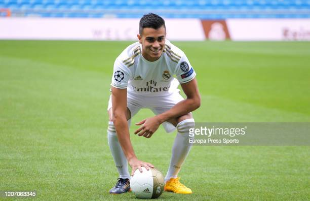 Reinier Jesus Carvalho poses for photo durign his presentation as a new player of Real Madrid CF at Santiago Bernabeu stadium on February 19 2020 in...