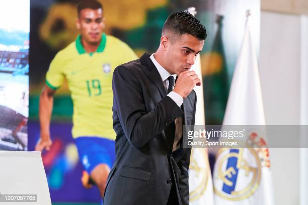 Reinier Jesus of Real Madrid gives a speech as Real Madrid unveil new signing Reinier Jesus Carvalho at Estadio Santiago Bernabeu on February 18 2020...