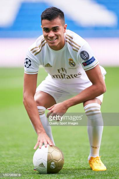 Reinier Jesus of Real Madrid poses with the ball as Real Madrid unveil new signing Reinier Jesus Carvalho at Estadio Santiago Bernabeu on February 18...