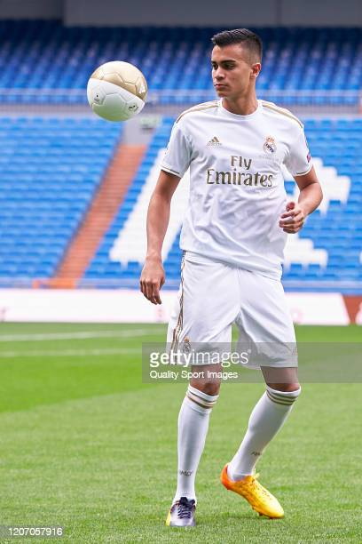 Reinier Jesus of Real Madrid with the ball as they unveil new signing Reinier Jesus Carvalho at Estadio Santiago Bernabeu on February 18 2020 in...