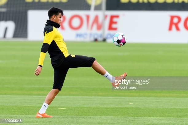 Reinier of Borussia Dortmund controls the ball during the Borussia Dortmund Training session on October 13 2020 in Dortmund Germany