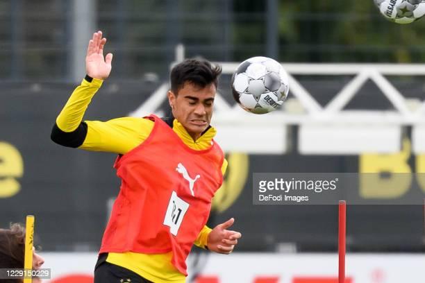 Reinier of Borussia Dortmund controls the ball during the Borussia Dortmund Training session on September 27 2020 in Dortmund Germany