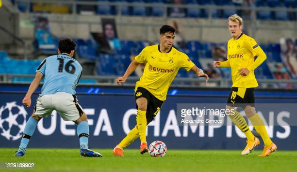 Reinier of Borussia Dortmund in action during the Champions League match between SS Lazio and Borussia Dortmund at the Stadio Olimpico on October 20...