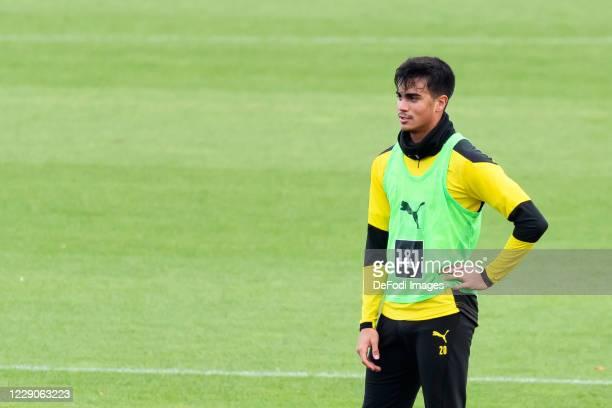 Reinier of Borussia Dortmund looks on during the Borussia Dortmund Training session on October 13 2020 in Dortmund Germany