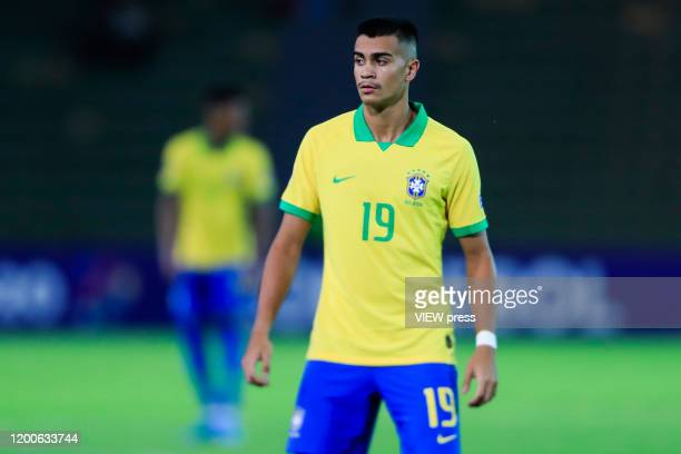 Reinier of Brazil looks on during his CONMEBOL PreOlympic soccer game against Peru at Centenario Stadium on January 19 2020 in Armenia Colombia