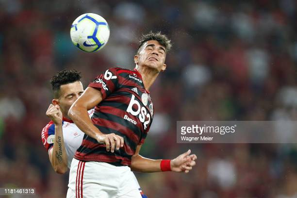 Reinier of Flamengo and Flavio of Bahia during a match between Flamengo and Bahia as part of Brasileirao Series A 2019 at Maracana Stadium on...