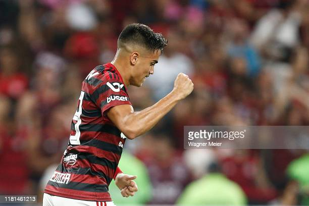Reinier of Flamengo celebrates his goal during a match between Flamengo and Bahia as part of Brasileirao Series A 2019 at Maracana Stadium on...
