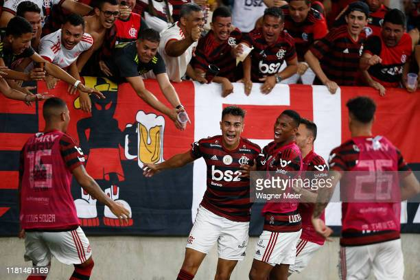 Reinier of Flamengo celebrates his goal with teammates during a match between Flamengo and Bahia as part of Brasileirao Series A 2019 at Maracana...