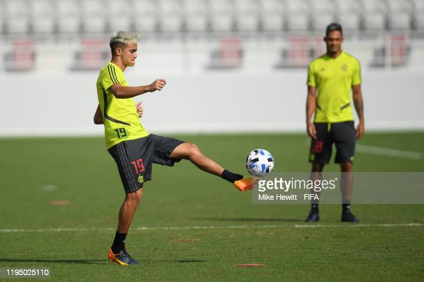 Reinier of Flamengo takes part in a Flamengo training session at the Al Duhail Sports Club during the FIFA Club World Cup Qatar 2019 on December 19...