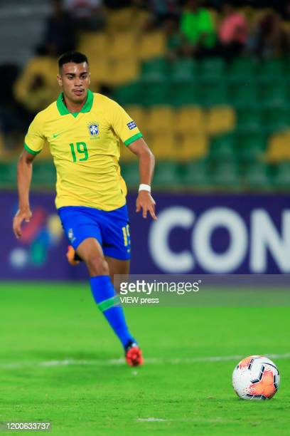 Reinier runs for the ball during his CONMEBOL PreOlympic soccer game against Peru at Centenario Stadium on January 19 2020 in Armenia Colombia