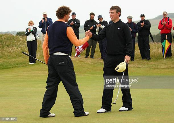 Reinier Saxton of The Netherlands is congratulated by his opponent Tommy Fleetwood of Formby Hall Golf Club after his victory in The Final of The...