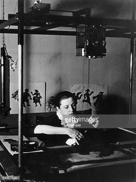 Reiniger Lotte Filmmaker Germany *02061899 Animation pioneer working on an animated cartoon 1935 Photographer Wolf Strache Vintage property of...