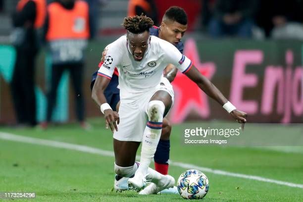 Reinildo Mandava of Lille Tammy Abraham of Chelsea FC during the UEFA Champions League match between Lille v Chelsea at the Stade Pierre Mauroy on...