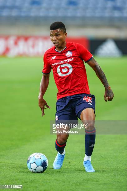 Reinildo Mandava of LOSC Lille during the Pre-Season Friendly match between SL Benfica and Lille at Estadio Algarve on July 22, 2021 in Faro,...