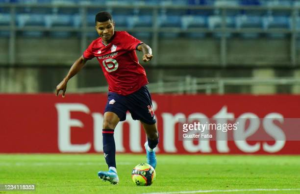 Reinildo Mandava of LOSC Lille in action during the Pre-Season Friendly match between SL Benfica and Lille at Estadio Algarve on July 22, 2021 in...