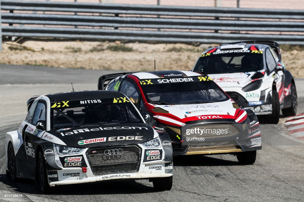 Reinis NITISS (LVA) in Audi S1 of EKS (L) and Timo SCHEIDER (AUT) in Ford Fiesta of MJP Racing Team Austria (C) in action during the World RX of Portugal 2017, at Montalegre International Circuit in Portugal on April 22, 2017.
