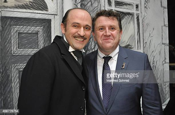 Reinwald Kranner and Anthony Lyn pose for a photograph during the Mary Poppins musical premiere at Ronacher Theater on October 1 2014 in Vienna...