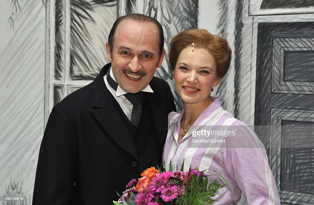Reinwald Kranner (L) and Milica Jovanovic pose for a photograph during the Mary Poppins musical premiere at Ronacher Theater on October 1, 2014 in Vienna, Austria.